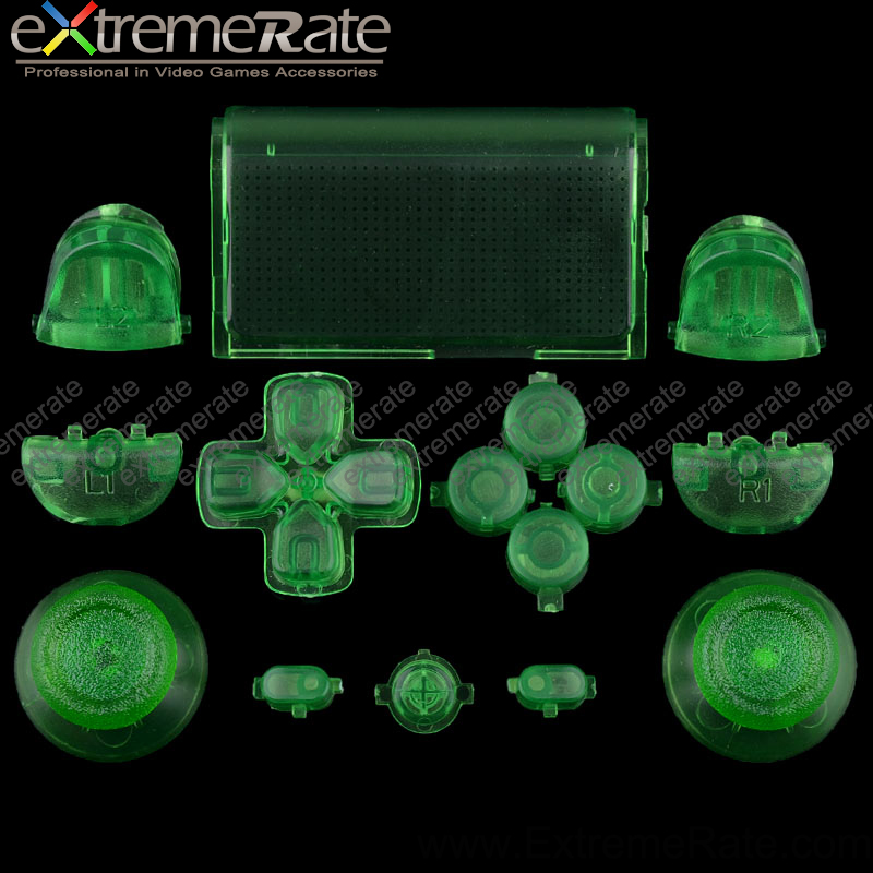 Different colors transparent clear green original button sets for Sony Playstation 4 game accessories