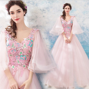 2019 latest Vestidos De Novia Silhouette v neck flare sleeves flower embroidered pink wedding dress bridal ball gown
