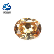 Chinese precious stone oval shape loose gemstone champagne zirconia in home decoration