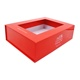 magnetic paper flat folding gift cardboard hat storage box with clear pvc window