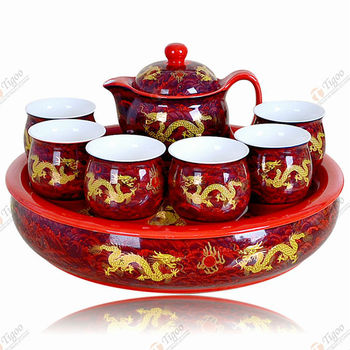 Wholesale Gold Plated Teapot Chinese China Dragon