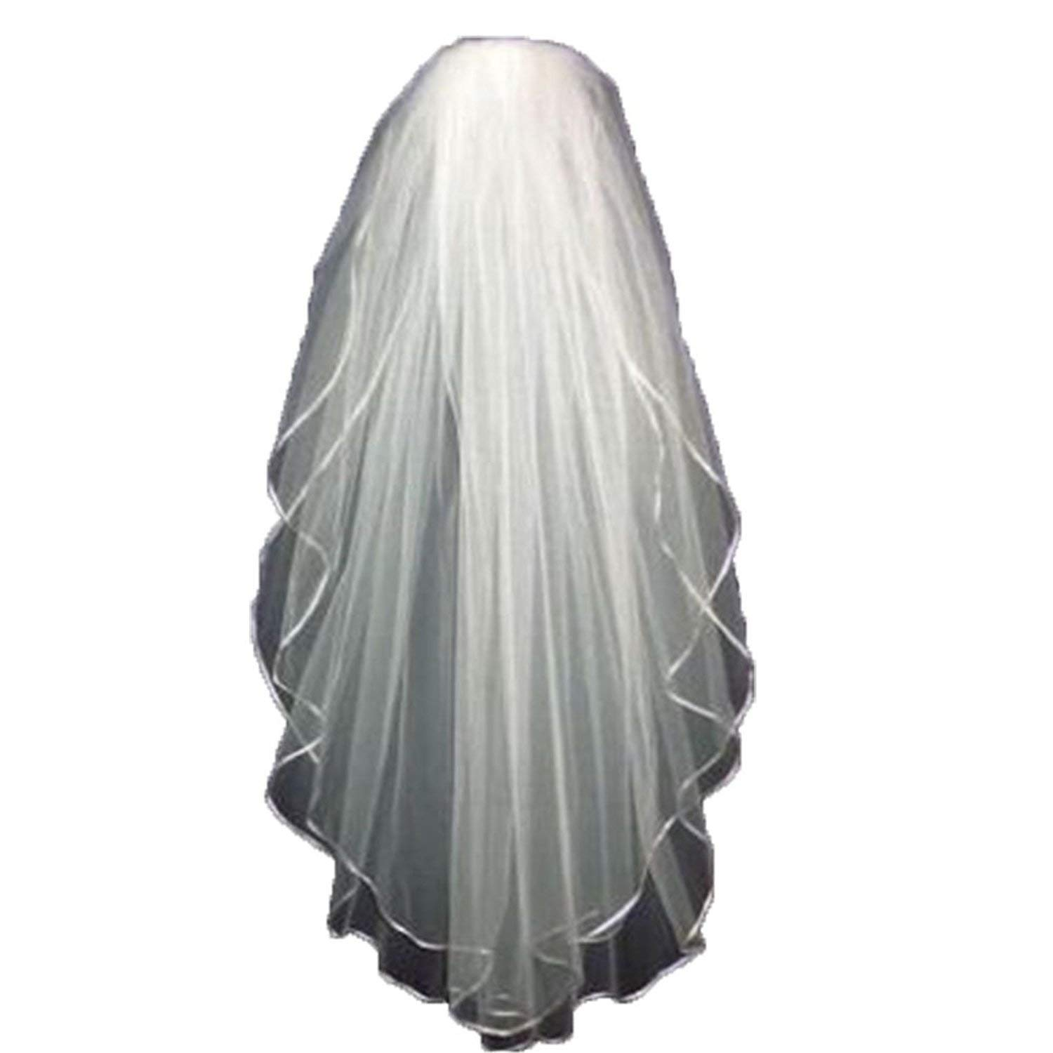 Doragrace Cheap White Ivory Short Wedding Veil for Bride - 2T 2 Tiers Ribbon Edge with comb