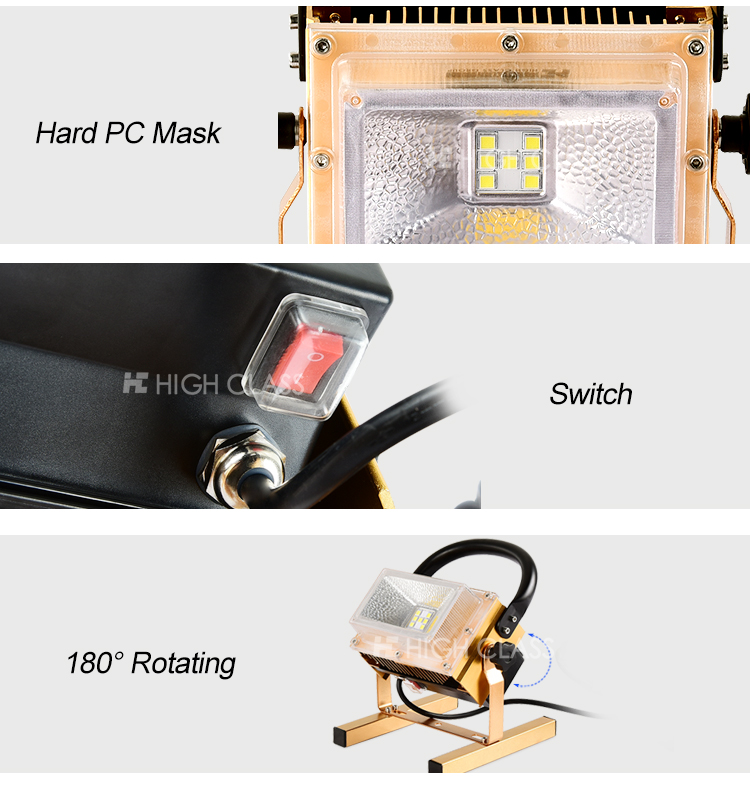 High performance portable rohs ip65 waterproof 10w 20w 30w 40w 50w rechargeable led floodlight