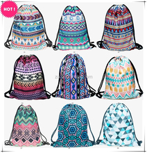 Factory wholesale custom traveling digital ladies printed aztec girls drawstring backpack for promotional gift bag