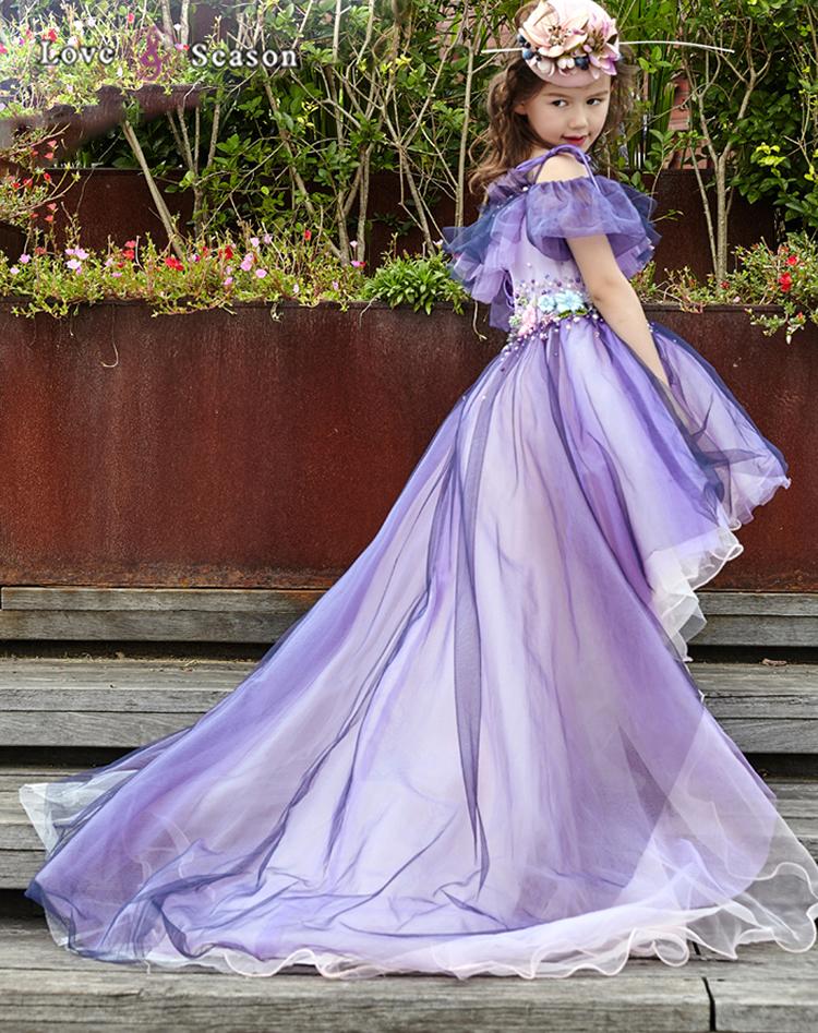 XXLF128 hadas púrpura trasero largo corto delantero del vestido de ...