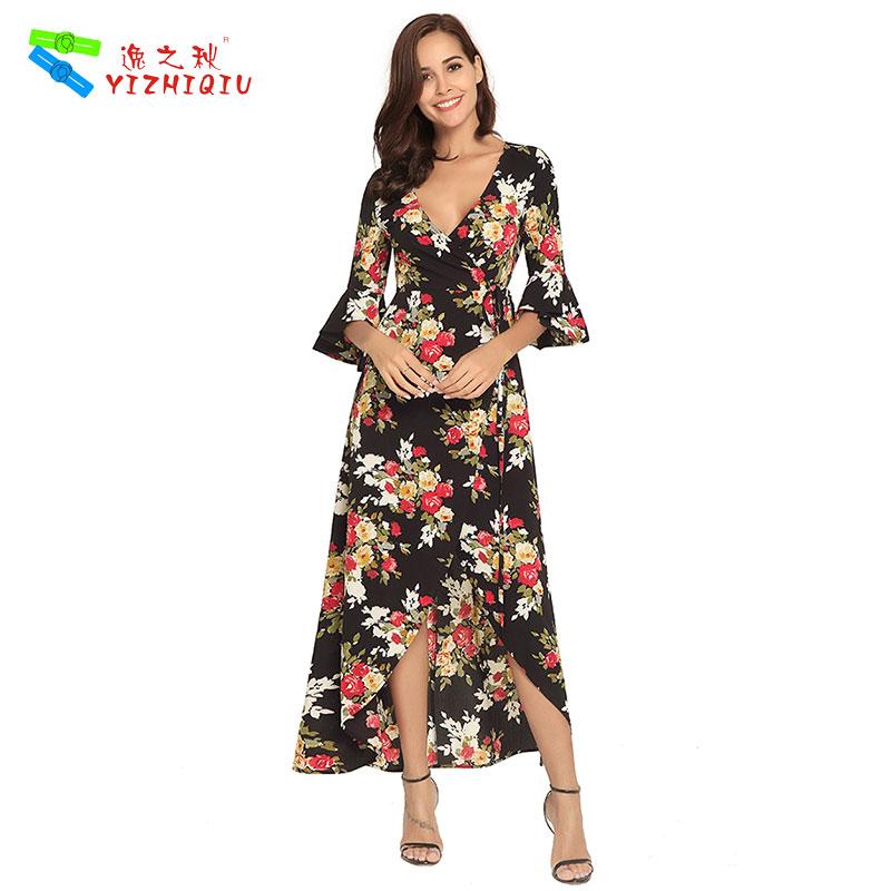YIZHIQIU floral sexy ropa de mujer long shirt dress women