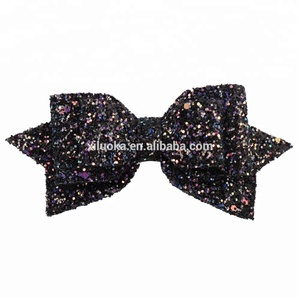 Black color hairclips for child hairpin for girls bow hair Sequined flash metal hair clip