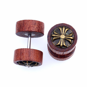 Wholesale Multi Designs Unisex Men and Women Fashion Black Natural Wood Double Sided Wooden Small Dumbbell wood stud earrings