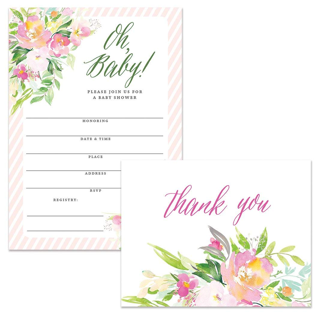 Oh Baby Shower Invitations (50) & Thank You Notes (50) Matching Set with Envelopes, Mommy-to-be Infant Girl Daughter Pink Fill-in-Style Invites & Folded Blank Thank You Cards Excellent Value Pair