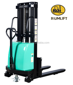 1000 kg 2000 kg 1 ton 2 ton semi-electric pallet stacker forklift truck low price