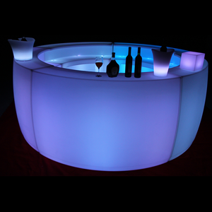 battery powered rgb color changing mobile round led plastic bar counter illuminated portable drinks table