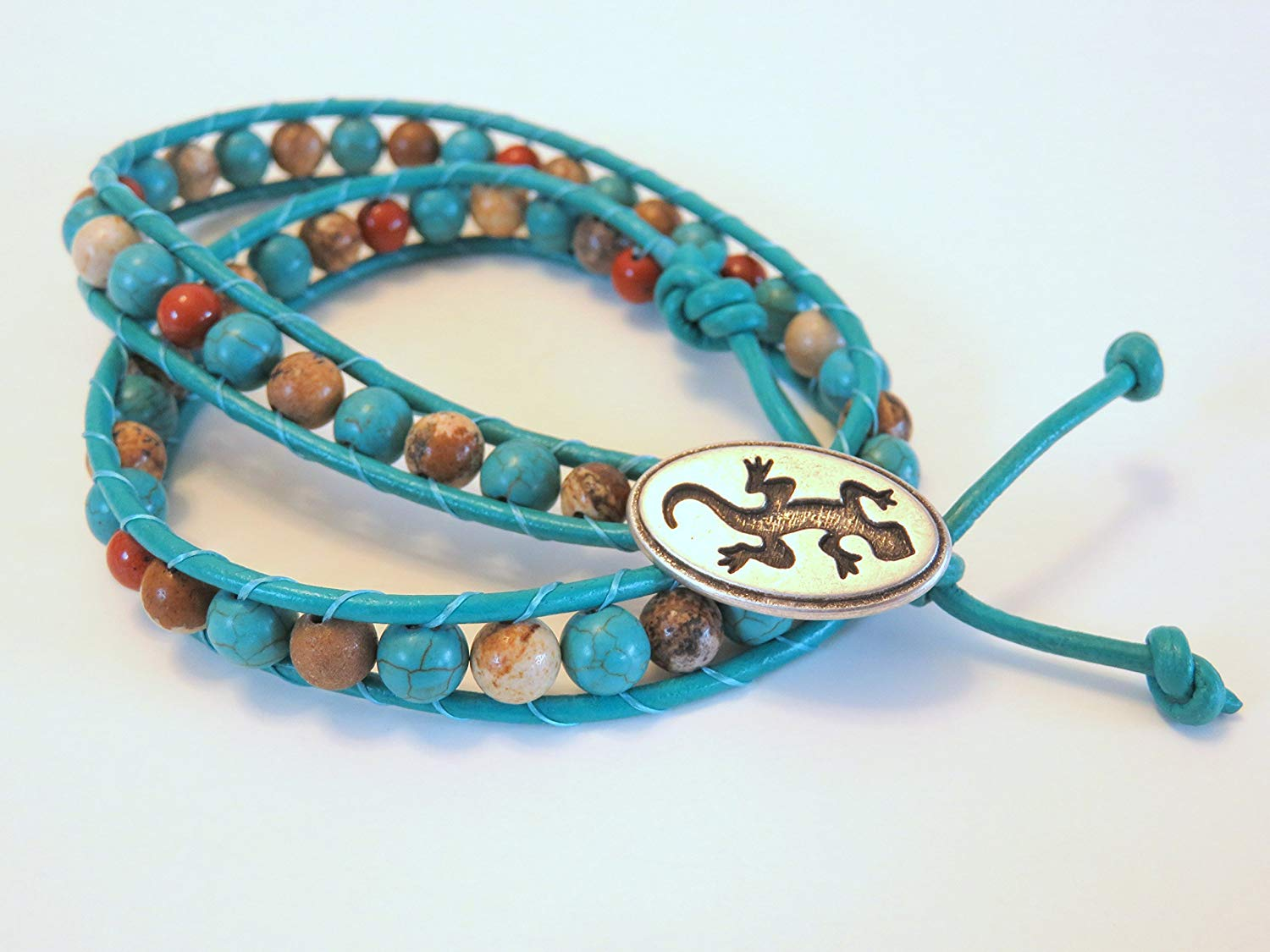 Turquoise Leather Wrap with Natural Jasper Stones and a Pewter Gecko Clasp
