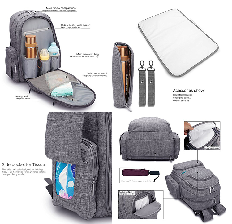 Multi-Function mummy nappy backpack diaper bag with changing pad