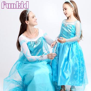 Hot Sale Princess Frozen Elsa Birthday Costumes Kids Cosplay Flash ...