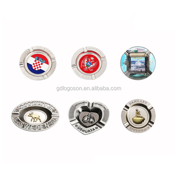 Types Of Ashtrays Souvenirs Factory Custom Engraved Metal Round/Oval/Heart Shaped Ash Tray