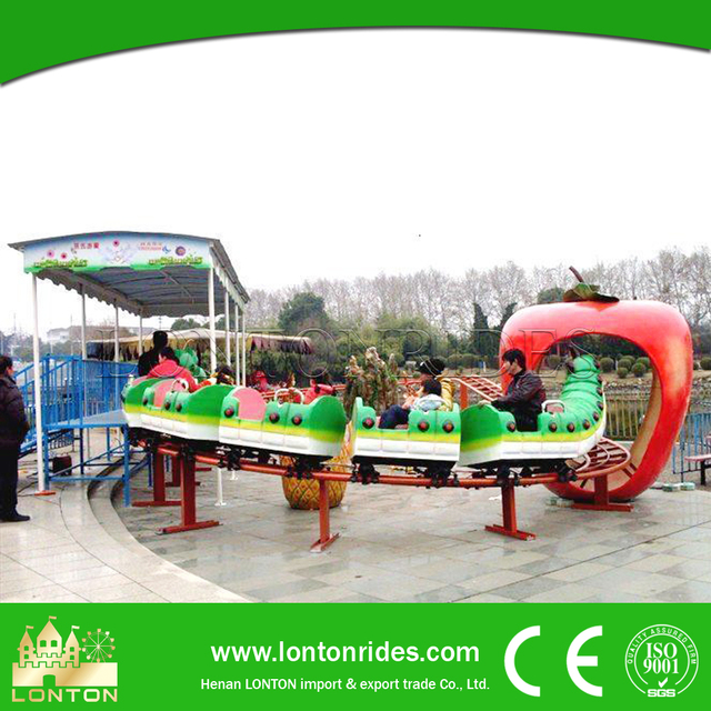 Outdoor playground equipment rides track caterpillar slide worm mini roller coaster for sale