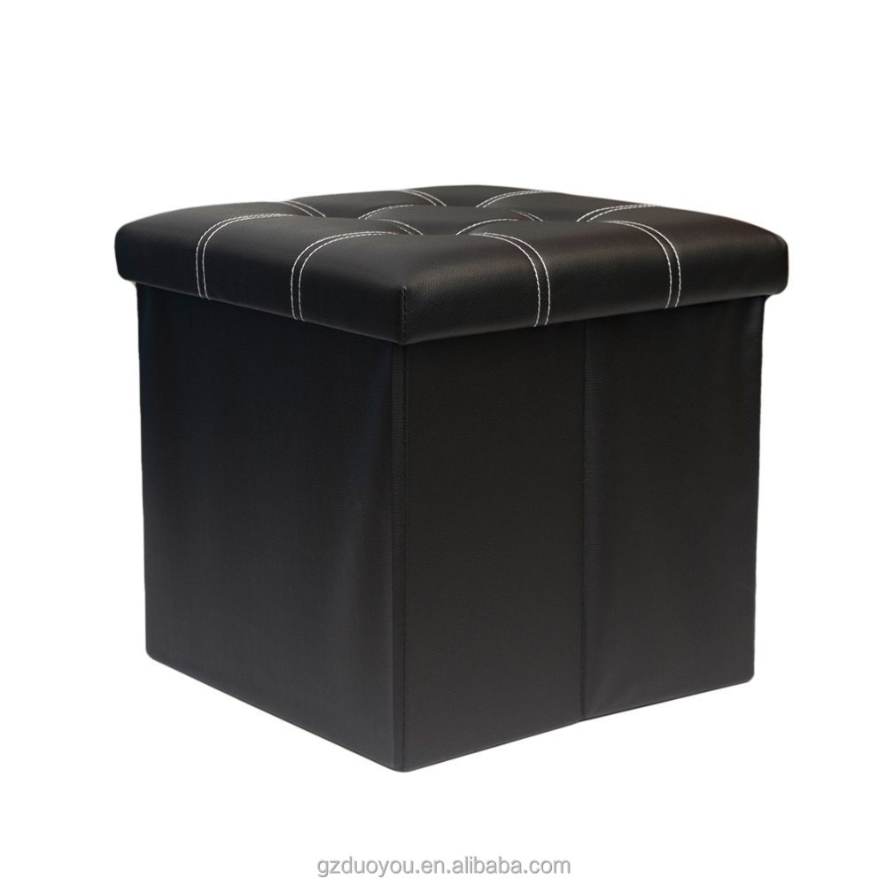 Faux Leather Folding Storage Ottoman Bench Collapsible Footrest Seat , Coffee Table Cube Foot Rest Stool