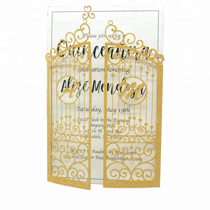 Gate folding Bright Silver Metallic Invitation Wedding Cards With Free Initials Customize