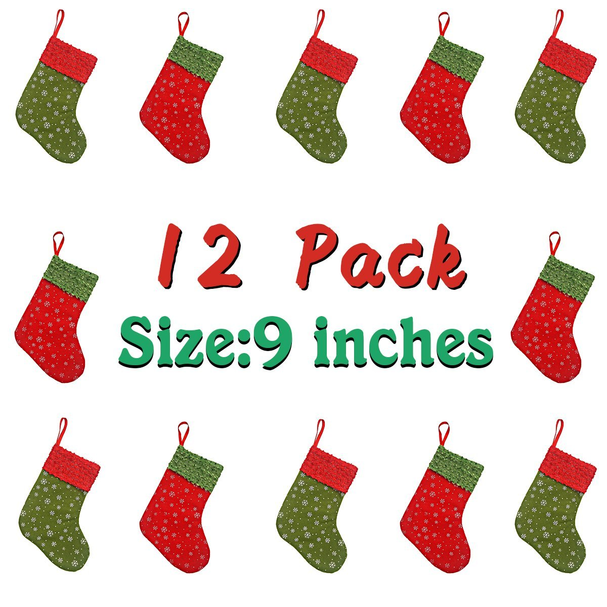 get quotations solucky 12pc mini christmas stockings with snowflake 9 party decorationsgift bags - Red And Green Christmas Stockings