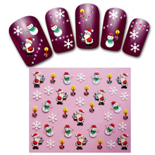 4 Sheets Christmas Manicure 3D Nail Sticker Manicure Adesivos De Unha Stickers Polish Nails Beauty Nail Art DecoratIon H010-4