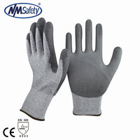 NMSAFETY 13G Nylon and HPPE and Glassfiber liner coated pu cut resistant level 5 working gloves