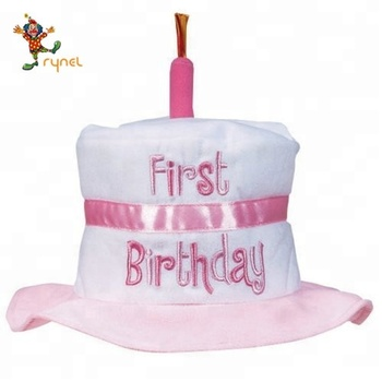 PGH0315 Cheap Plush Pink Party 1 Candles Happy Birthday Cake Hat