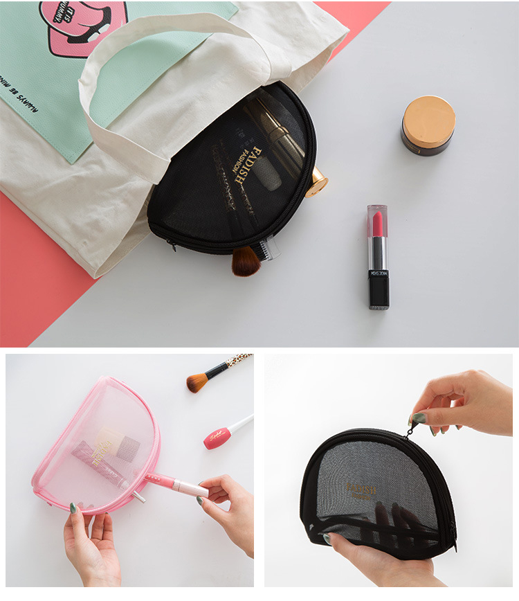 Translucent Pu Leather Mini Mesh Makeup Bag See Through Cosmetic ...
