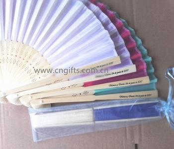 Ywbeyond Wedding Folding Fans Packed Favors Paper Fan Hand With Bamboo Ribs