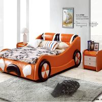 The most popular car shape design adult orange color leather car bed