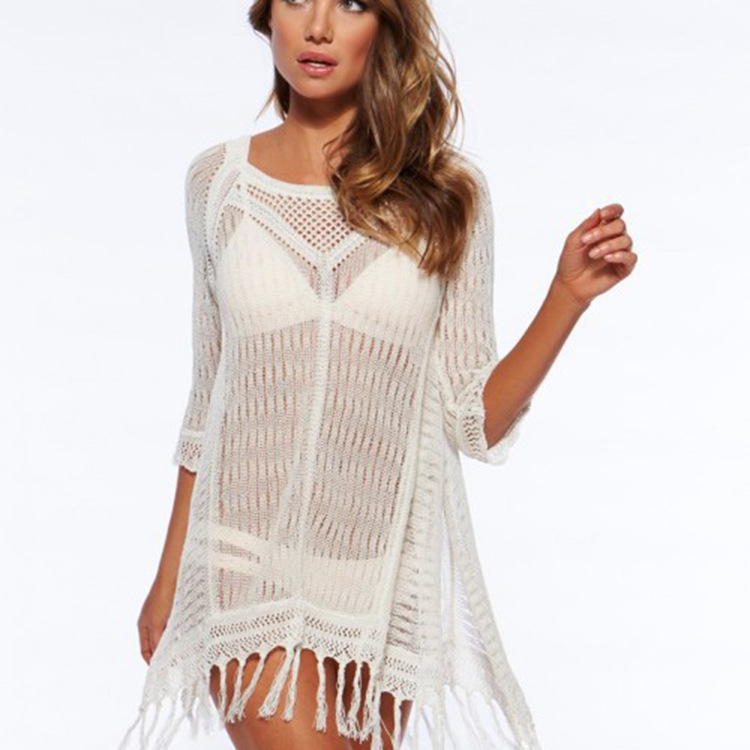 Prompt delivery ready stocklot 2017 new design white crochet beach dresses with tassels