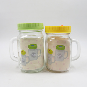 Class Square Shape Glass Milk Bottle with Handle