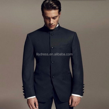 Latest Designs Style Groom Suits Standing Collar Tuxedos Black Mandarin Men Wedding Dinner