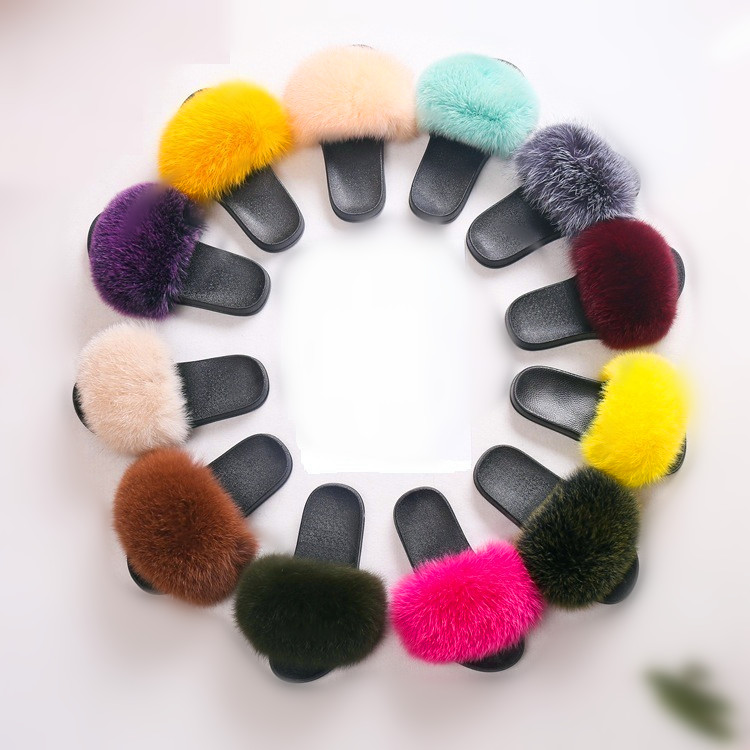 60 Colors Comfortable Home Winter Wholesale Real Fur Indoor Slippers With Fox Fur