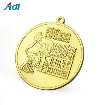 custom 2d  relief gold bike bicycle award medal for sale