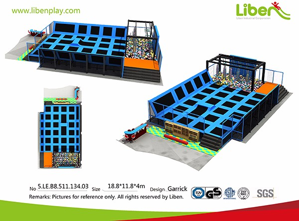 LE.B8.511.134.03 Inside Fitness Trampoline With Ninja Course,Trampoline Fitness
