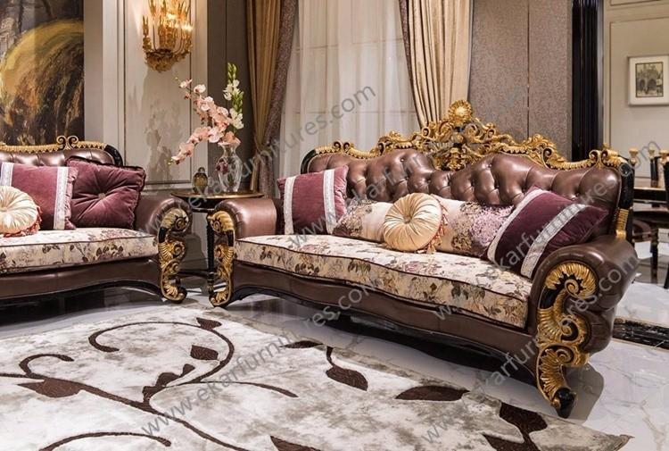 french luxury meuble royale gold genuine leather sofa