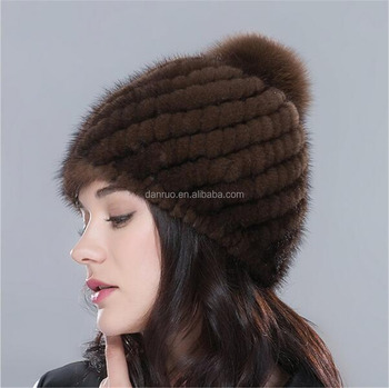 b319c288780 Factory price Winter Women Real Mink Fur Knit Beanie Hat Top quality lady knitted  mink