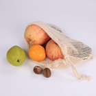 2019 hot sale 100% organic eco friendly storage vegetable and fruit cotton mesh drawstring net bag for shopping
