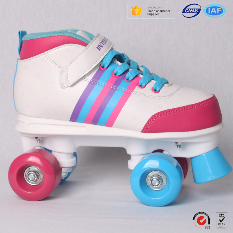 Top Quality synthetic leather Upper flat heel quad roller skates shoes for kids