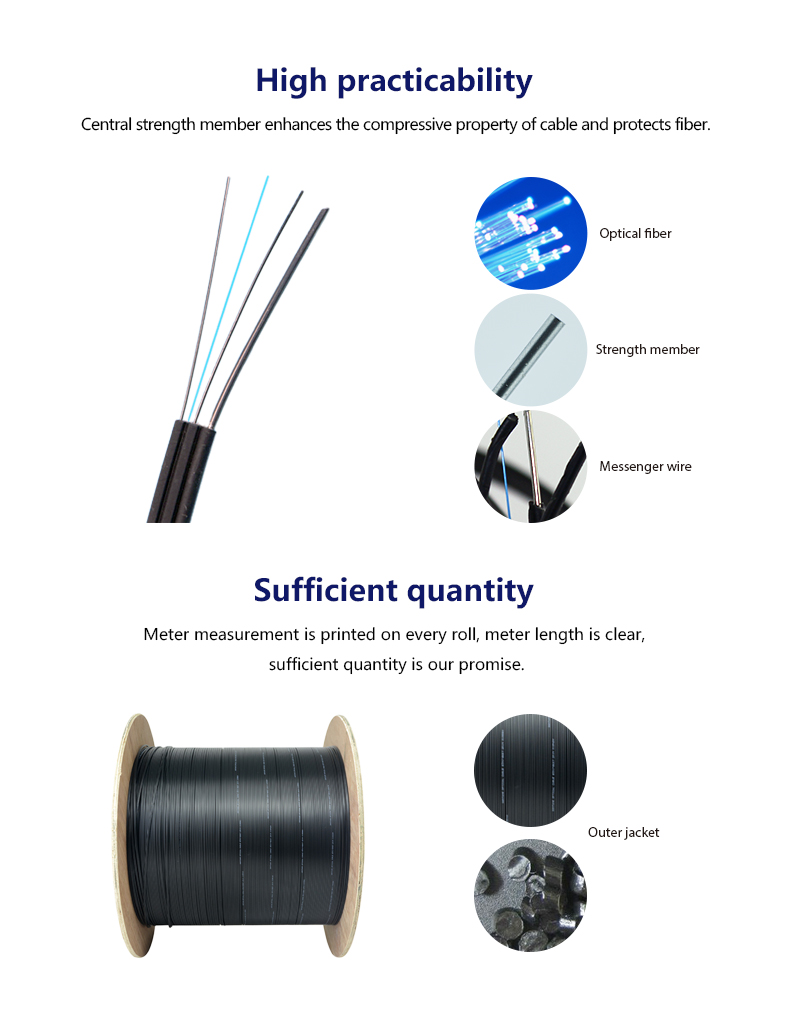 GJYXCH g657 fiber FTTH indoor drop cable  4 core self-supporting fiber optic cable