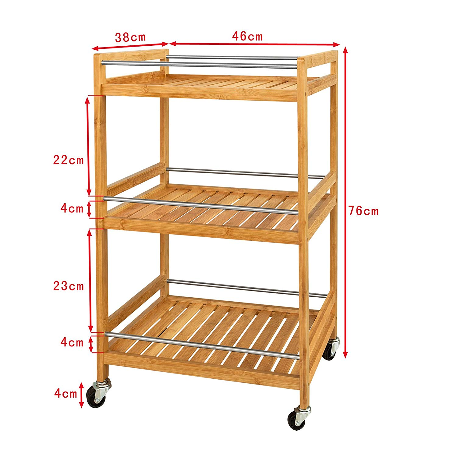 Kitchen Serving Trolley  Cupboard with Caster Kitchen Storage Serving Cart  L46xW38xH76cm Bamboo
