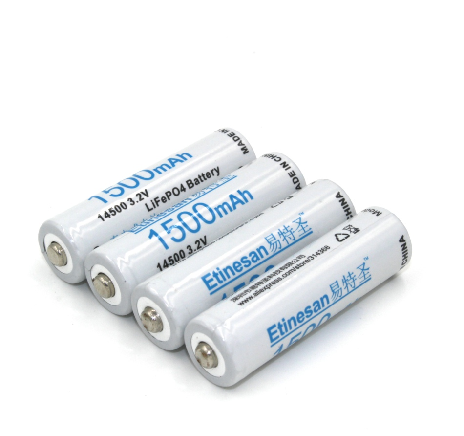 4 pcs lot etinesan 1500mah 14500 lifepo4 aa rechargeable battery instead of lithium. Black Bedroom Furniture Sets. Home Design Ideas