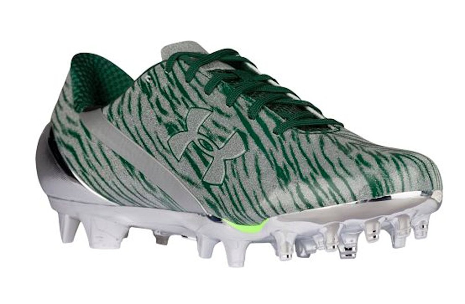 huge discount b8501 df5e0 Get Quotations · Size 9 Men s Under Armour Football Cleats Silver Forest  Green 80533 231