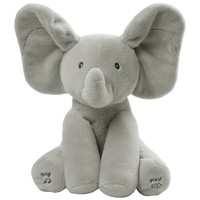 plush and stuffed elephant toys with big ears can sing short grey animal elephant electric plush toys