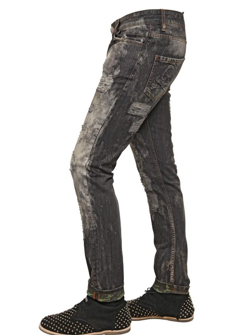 OEM high quality Fashion distressed dirty wash man denim pant manufacturers mexico jeans paint 129