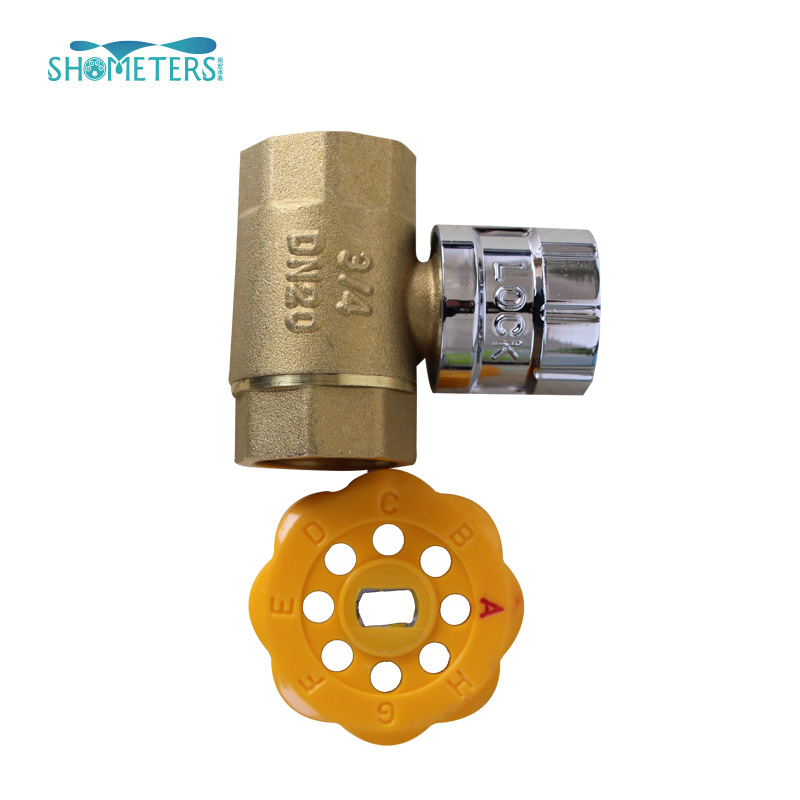 Low cost brass lockable magnetic ball valve with lock