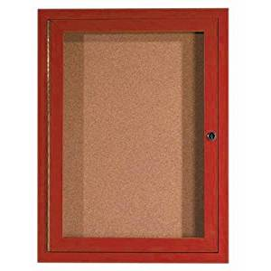 """Aluminum Wall Mounted Enclosed Bulletin Board Frame Color: Cherry Wood, Number of Doors: One, Size: 24"""" H x 18"""" W"""