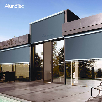 Aluminium Roller Shades Outdoor Rainproof Motorized Zipped Screens