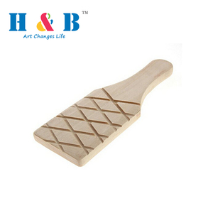 HB Grooved Ribbed Wooden Utensils Paddle tool Manufacture for Clay Pottery
