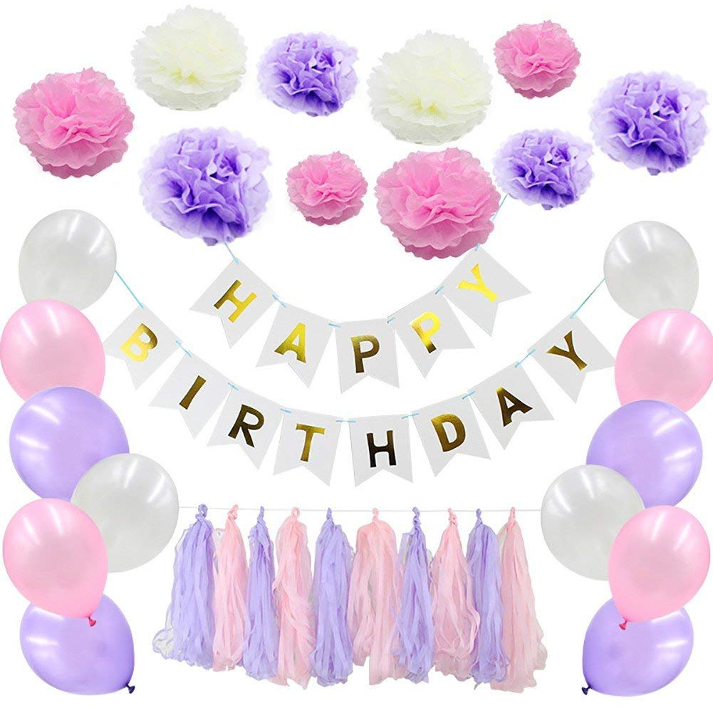 Ochine Happy Birthday Party Decorations Kit, 51 Pcs Includeing Happy Birthday Banner, Latex Ballons, Tissue Paper Pom Poms Flower, Party Supplies (Purple)